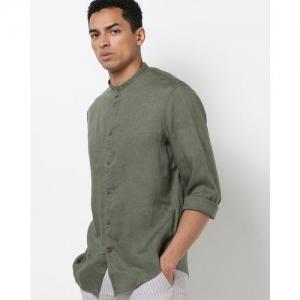 Celio Ratamao Linen Shirt with Band Collar