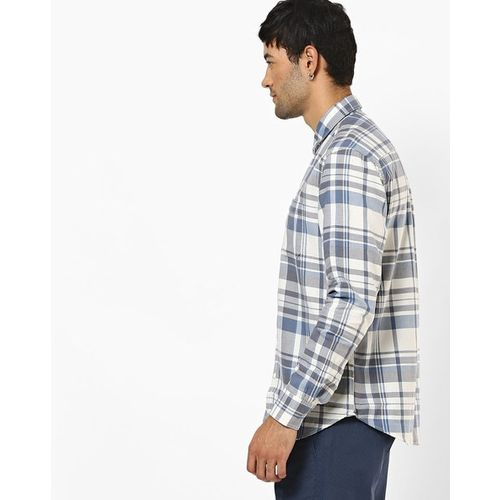 NUMERO UNO Checked Slim Fit Shirt with Patch Pocket