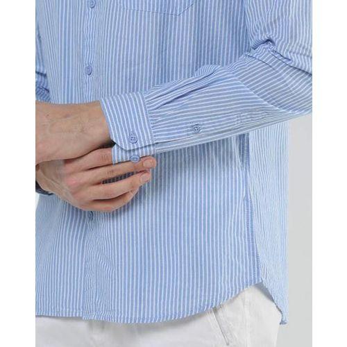 AJIO Pin-Striped Shirt with Patch Pocket