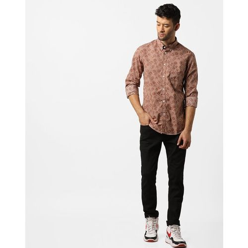 INDIAN TERRAIN Checked Floral Shirt with Button-Down Collar