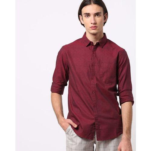 AJIO Textured Slim Fit Shirt with Patch Pocket