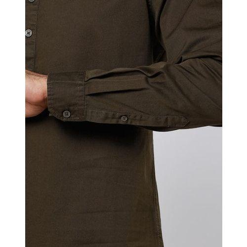 AJIO Slim Fit Shirt with Band Collar