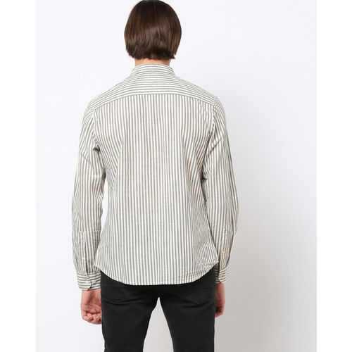 AJIO Striped Slim Fit Shirt with Patch Pocket