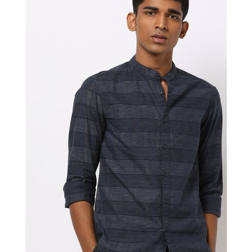 AJIO Self-Striped Slim Shirt with Mandarin Collar