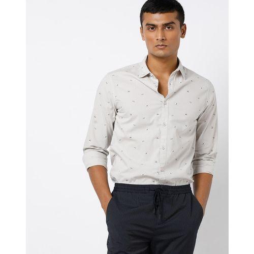 AJIO Printed Slim Fit Shirt