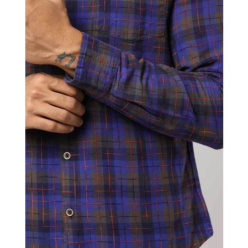 UNITED COLORS OF BENETTON Checked Slim Fit Shirt with Patch Pocket