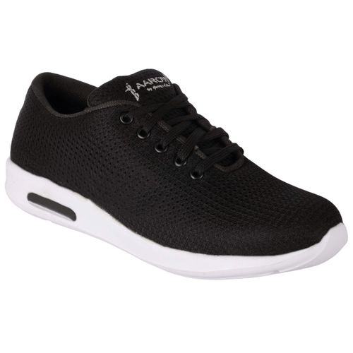 1AAROW Men's Black Solid Lace Up Sports Shoes