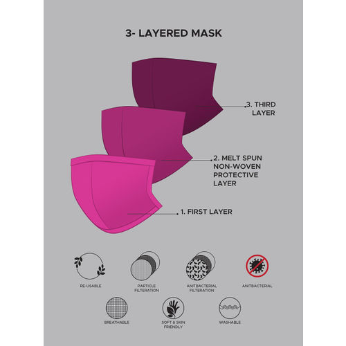 Anouk Adults Multicoloured Pack of 4 Reusable 3-Layer Protective Fashion Masks