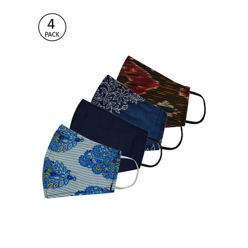 Anouk Adults Multicoloured Pack of 4 Printed Reusable 3-Layer Protective Fashion Masks