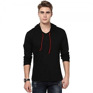 Katso Black Cotton Solid Slim Fit Hooded T-Shirt