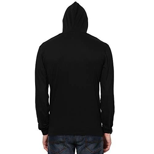 Katso Black Cotton Solid Slim Fit Hooded T-Shirt