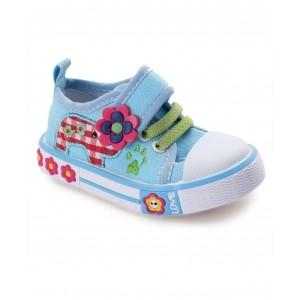 Cute Walk by Babyhug Casual Shoes Floral Applique - Blue