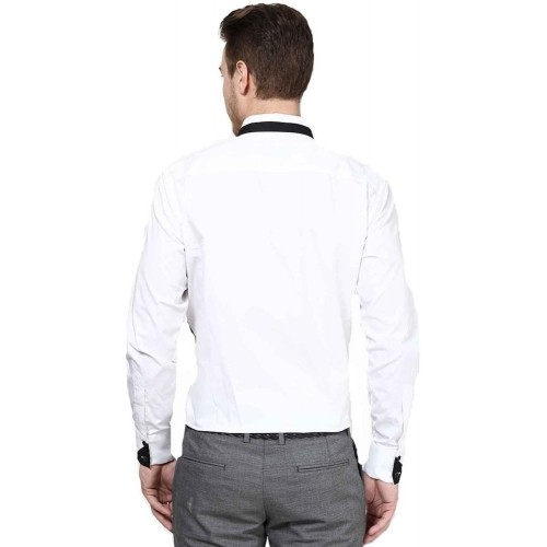 Dazzio White Solid Cotton Casual Shirt
