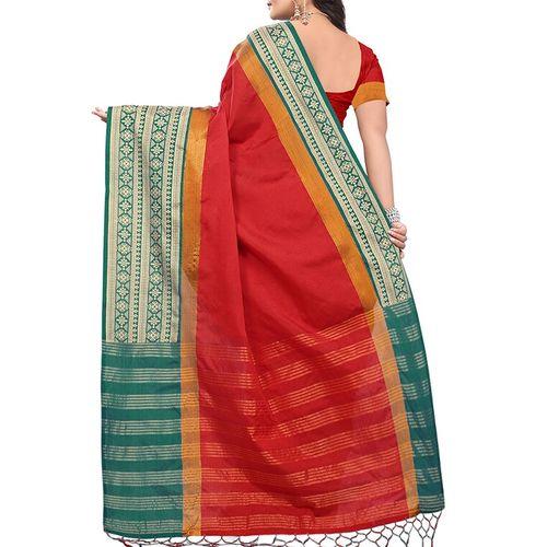 RIVA contrast border zari stripe saree with blouse