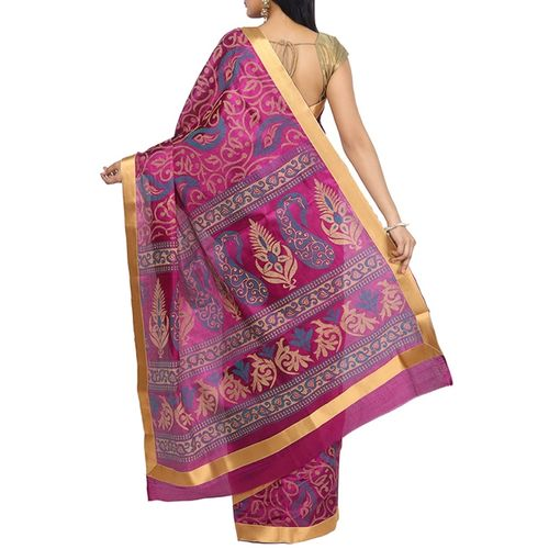 the couture mahal multi colored silk printed saree with blouse