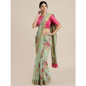 Aloki floral bordered saree with blouse
