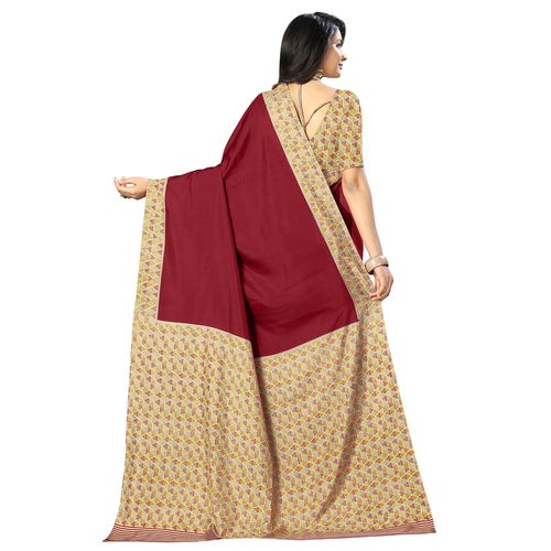 Novus Knitting solid bordered mysore silk saree with blouse