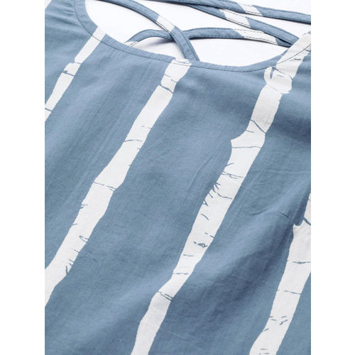 AKS Women Blue & White Striped Ruffled A-Line Top
