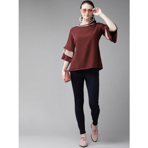 Bhama Couture Women Maroon Solid A-Line Top