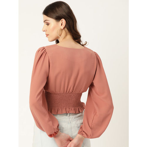 20Dresses Women Peach-Coloured Solid Smocked Cinched Waist Top