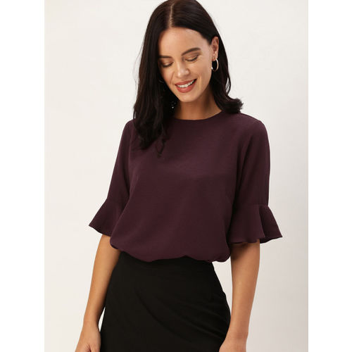 her by invictus Women Burgundy Solid Top With Bell Sleeves
