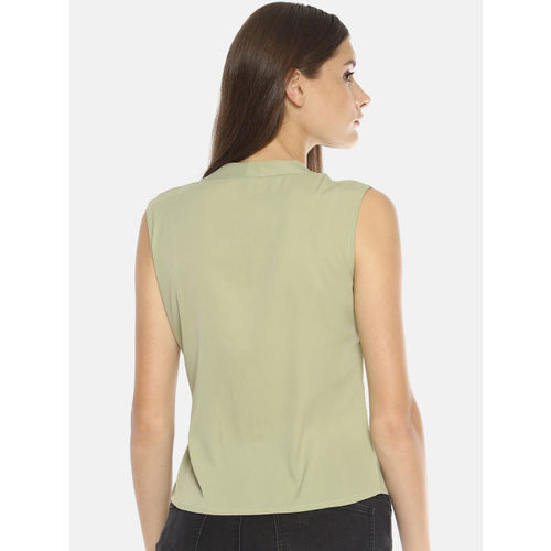 SAHORA Women Lime Green Solid Waist Tie-Up Top