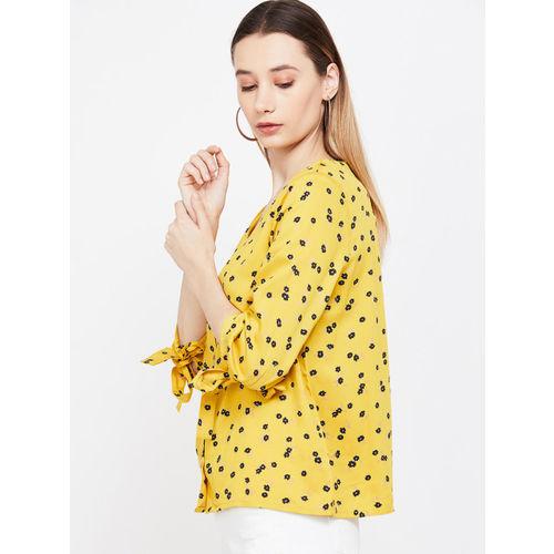 Bossini Women Mustard Yellow Printed A-Line Top