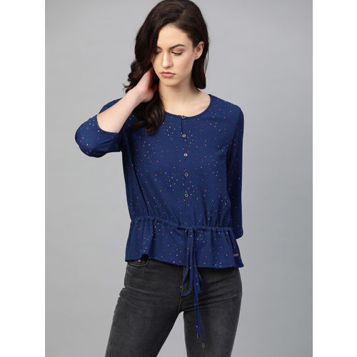 Roadster Women Blue Printed Cinched Waist Top