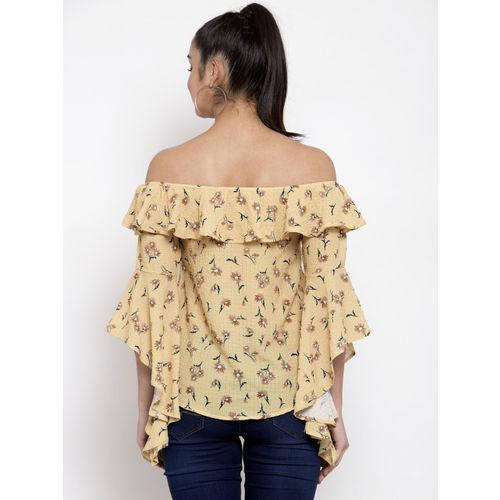 Global Republic Women Mustard Yellow & Brown Printed Bardot Top