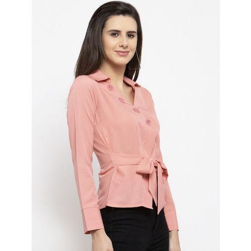 klauressa Women Pink Solid Shirt Style Top