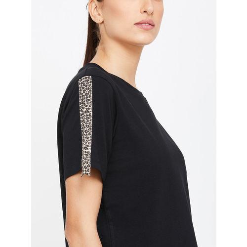 Kappa Women Black Solid Round Neck T-shirt
