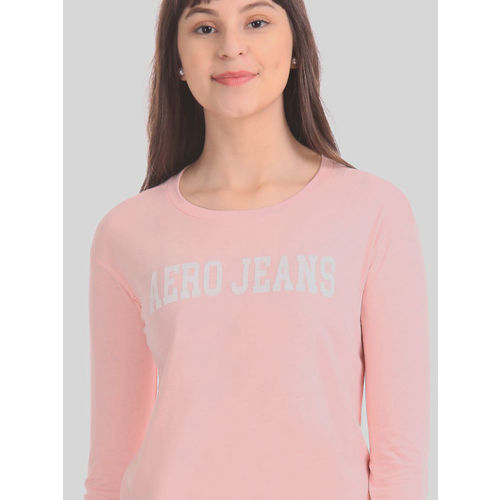 Aeropostale Women Pink Printed Round Neck T-shirt
