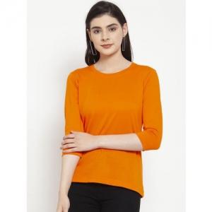 Friskers Women Orange Solid Round Neck T-shirt