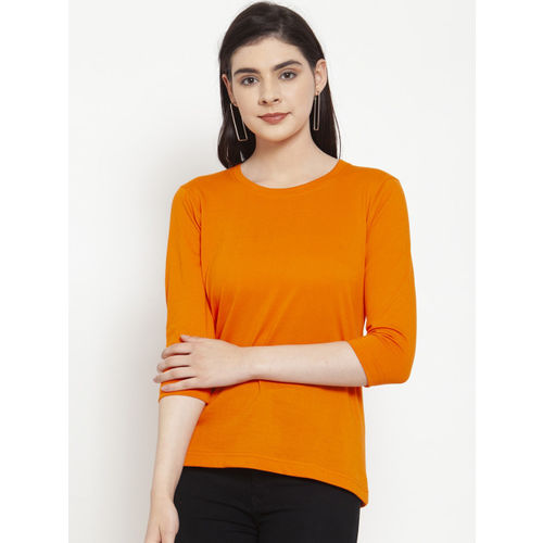 Friskers Women Orange Solid Round Neck T-shirt