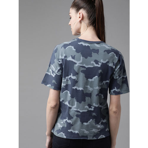 Roadster Women Blue & Grey Camouflage Print Round Neck T-shirt