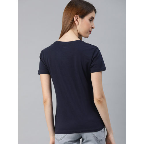 Lee Women Navy Blue Solid Round Neck T-shirt with Printed Detail