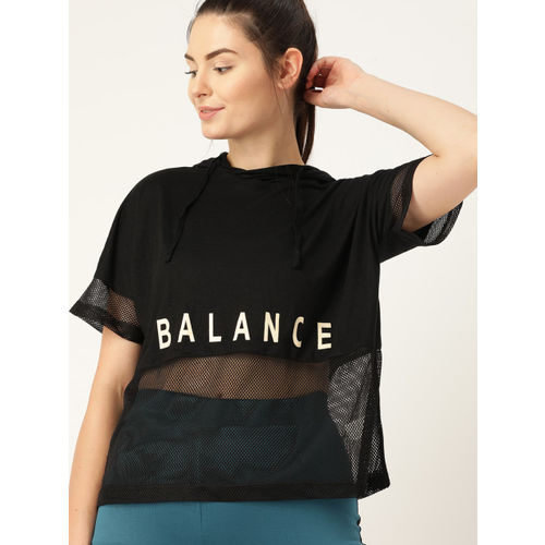 DressBerry Women Black Printed Semi-Sheer Hooded T-shirt