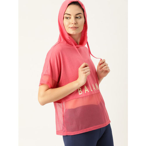 DressBerry Women Pink Printed Semi-Sheer Hooded T-shirt