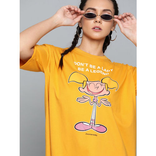 Dexter by Kook N Keech Women Mustard Yellow Printed Round Neck T-shirt