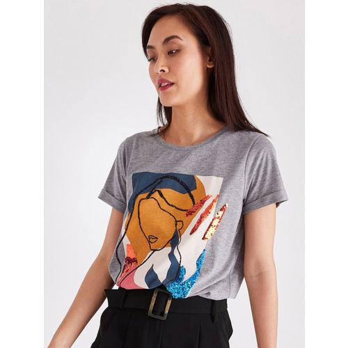 promod Women Grey Printed Round Neck T-shirt