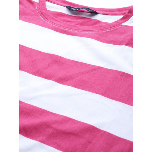 Mast & Harbour Women White & Pink Striped Relaxed Fit T-shirt