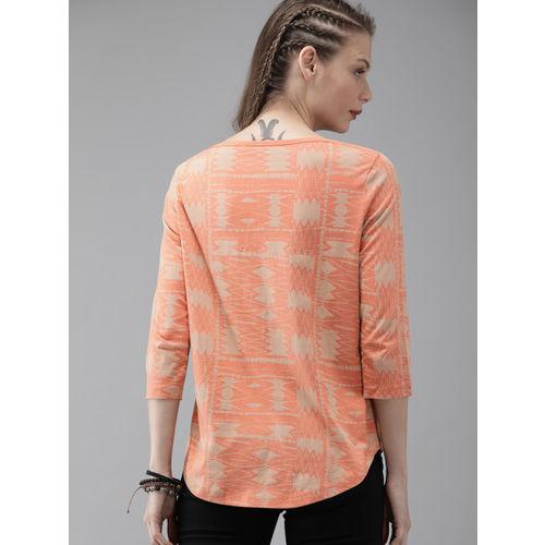 Roadster Women Coral Orange & Beige Printed Round Neck T-shirt