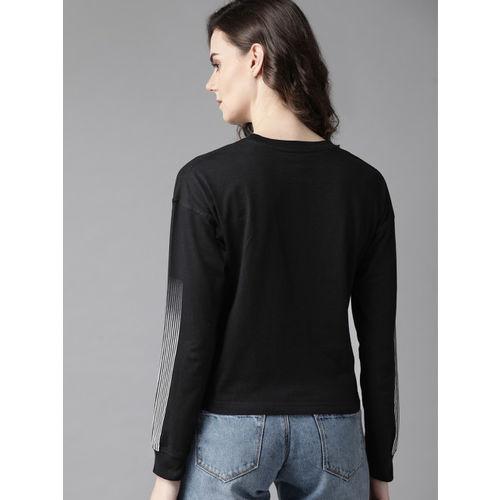 Roadster Women Black & Off-White Printed Round Neck T-shirt