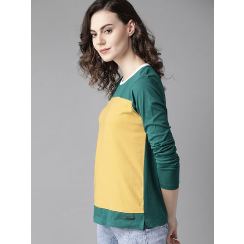 Roadster Women Mustard Yellow & Green Colourblocked Round Neck T-shirt