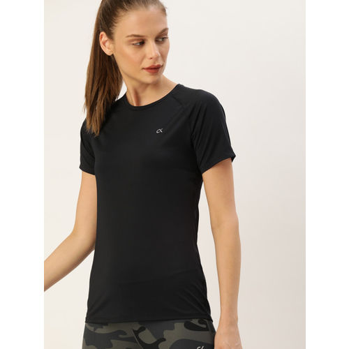 Calvin Klein Jeans Performance Women Black Back Printed Round Neck T-shirt