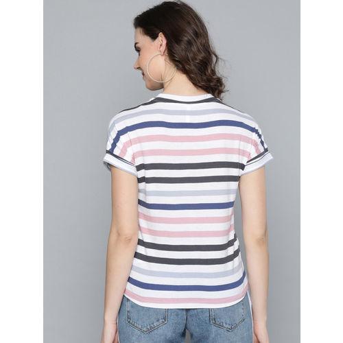 VividArtsy Women White & Blue Striped Round Neck T-shirt