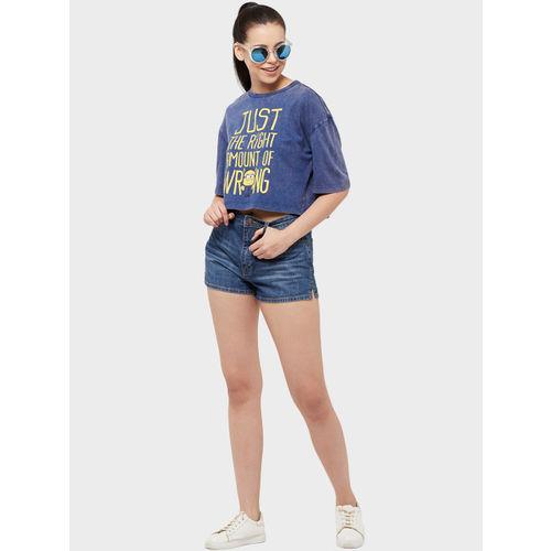Free Authority Women Blue Minions Printed T-shirt