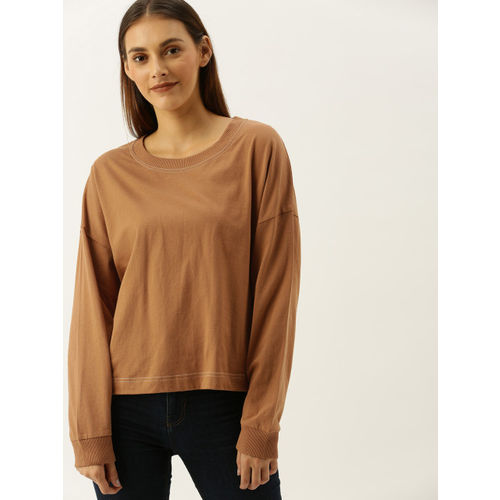 FOREVER 21 Women Brown Solid Round Neck T-shirt
