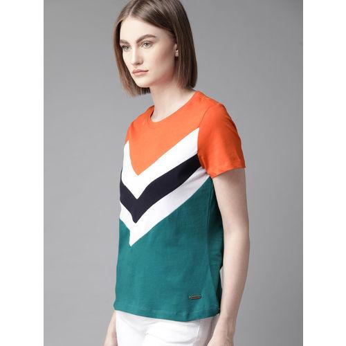 Roadster Women Orange & Green Striped Round Neck T-shirt