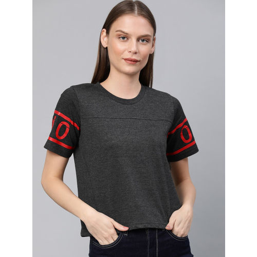 Harvard Women Charcoal Grey Solid Round Neck T-shirt with Printed Sleeves